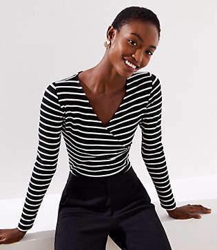 LOFT Petite Striped Wrap Bodysuit