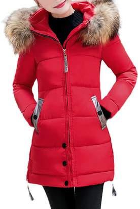 Auwer-Jacket Warm Coats for Women Plus Size,Women Ladies Slim Hooded Down Padded Long Winter Warm Parka Outwear Jacket Coat,Women's Petite Down & Parka Outerwear