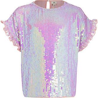 River Island Girls Purple sequin embellished T-shirt