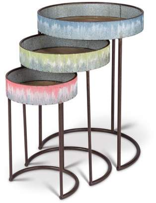 Lone Elm Studios Vintage, Nested Side Tables with Half-Moon Metal Base Legs in Assorted Sizes and Colors (Set of 3)