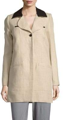 Carven Notch Collar Linen Jacket