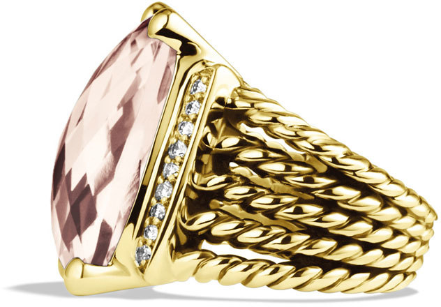 David Yurman Wheaton Ring with Morganite and Diamonds in Gold