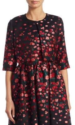 Lela Rose Cropped Floral Silk Jacket