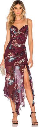 Nicholas Burgundy Floral Drawstring Dress