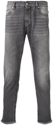 Represent frayed hem tapered jeans