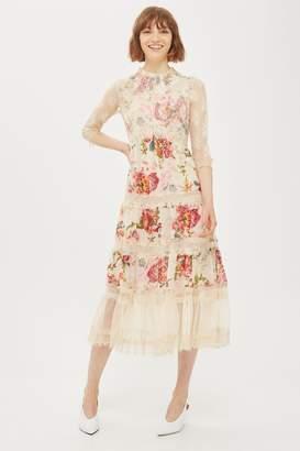Topshop Lace Tier Floral Midi Dress