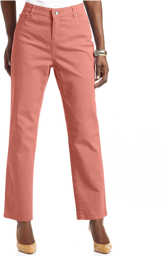 JM Collection Petite Jeans, Straight-Leg Embellished Cropped