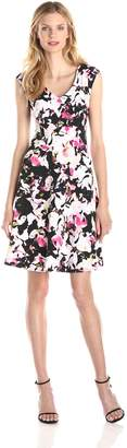 Gabby Skye Women's Floral V-Neck Dress, Black/Pink