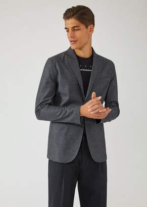 Emporio Armani Single-Breasted Two-Button Jersey Jacket