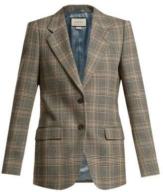 Gucci Prince Of Wales Check Wool Oversized Blazer - Womens - Beige Multi