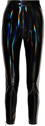 Balmain Holographic Stretch-vinyl Leggings - Black