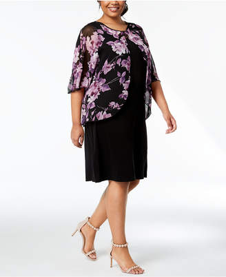 Connected Plus Size Floral-Print Chiffon-Capelet Dress
