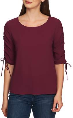 1 STATE 1.STATE Ruched Detail Tie Sleeve Blouse