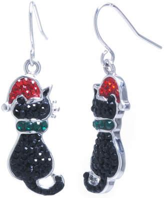 SPARKLE ALLURE Sparkle Allure Cat Santa Hat Multi Color Crystal Silver Over Brass Drop Earrings