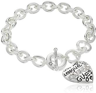 "GUESS Basic"" Graffiti Logo Heart Toggle Charm Bracelet"