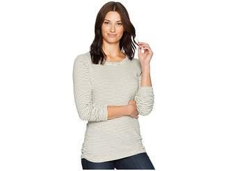 Mod-o-doc Heathered Jersey Stripe Twisted Collar Side Shirred Long Sleeve Tee