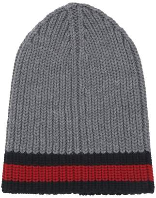 Bally Patch Beanie Hat Red, Mens ribbed wool beanie hat in lobster Bally