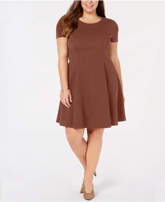 Soprano Trendy Plus Size Cap-Sleeve Skater Dress