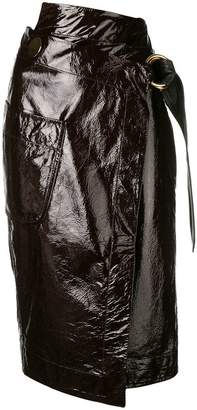 Petar Petrov leather wrap skirt