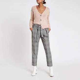 River Island Pink rhinestone button knitted cardigan