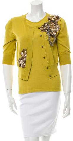 Oscar de la Renta Embellished Cashmere Cardigan Set