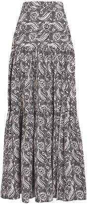Veronica Beard Serence Hibiscus Floral Poplin Maxi Skirt