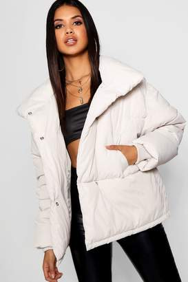 boohoo Funnel Wrap Neck Puffer Jacket