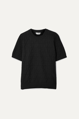Fendi Pointelle-knit Cotton-blend Top - Black