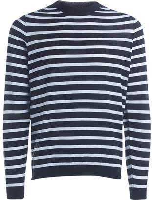Mauro Grifoni Grifoni White And Black Striped Pullover
