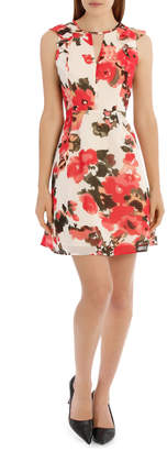 Key Hole Frill Sleeve Dress Water Colour Floral