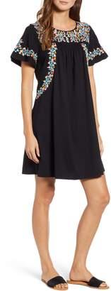 Caslon Embroidered Cotton Shift Dress