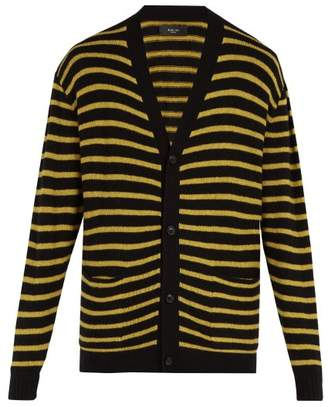Amiri Intarsia Striped Cashmere Blend Cardigan - Mens - Black Yellow