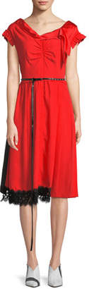 Marc Jacobs Cap-Sleeve V-Neck Belted Satin Dress w/ Lace Hem