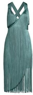 Herve Leger Women's V-Neck Fringe Midi Dress - Dusty Blue - Size Large