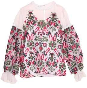 Oscar de la Renta Embroidered Lace-Trimmed Silk-Organza Top