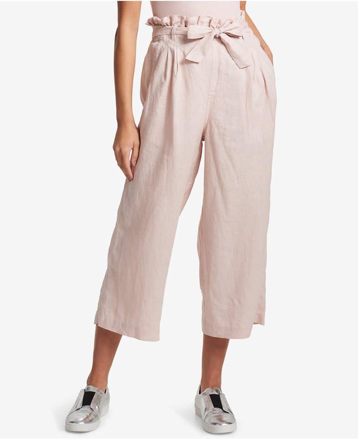 Dkny Linen Paper-Bag Waist Cropped Linen Pants