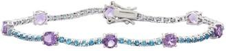 Sterling Silver Amethyst & London Blue Topaz Tennis Bracelet