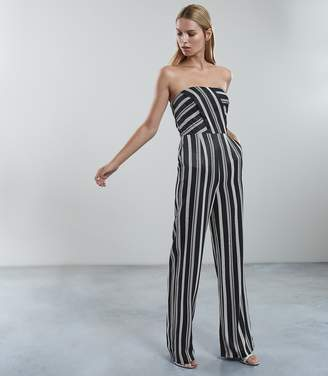 Reiss VIENNA STRIPED JUMPSUIT Black/white