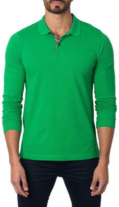 Jared Lang Semi-Fitted Long-Sleeve Cotton-Blend Polo Shirt, Green