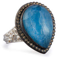 Armenta New World Midnight Pear-Shaped Blue Quartz Triplet Ring with Diamonds