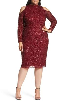 Adrianna Papell Cold Shoulder Beaded Sheath Dress