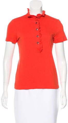 Tory Burch Tory Burch Ruffle-Trimmed Polo Top