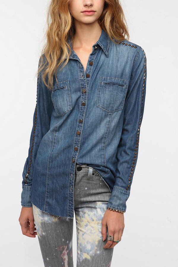 BLANKNYC Studded Sleeve Chambray Shirt