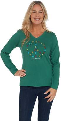 Life is Good Graphic Long Sleeve Crusher Vee