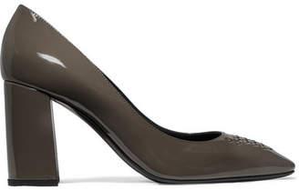 Bottega Veneta Intrecciato Patent-leather Pumps - Gray