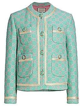 Gucci Women's Macro GG Contrast Trim Tweed Jacket