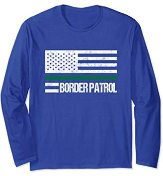 Thin Green Line Border Patrol Agent Flag Long Sleeve Shirt