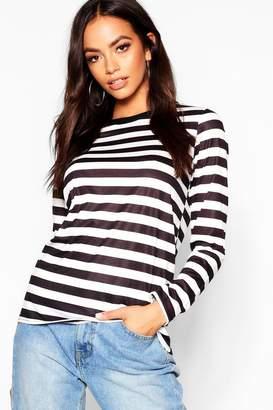boohoo Long Sleeve Oversized Stripe T-Shirt
