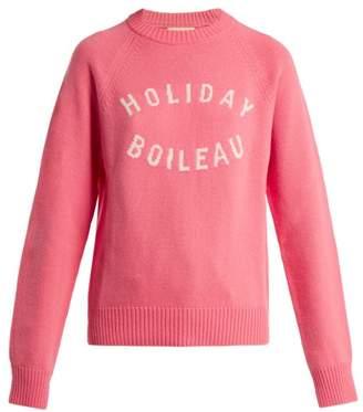 Holiday Boileau - Logo Intarsia Wool Sweater - Womens - Pink
