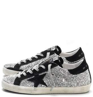 39fec4e8e0c58 Golden Goose Superstar Sneaker in Silver Glitter Black Suede Star